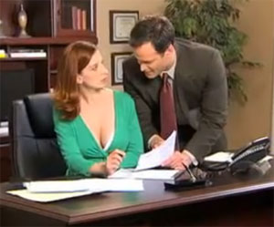 Woman gets ogled at the office on the Cami Secret infomercial