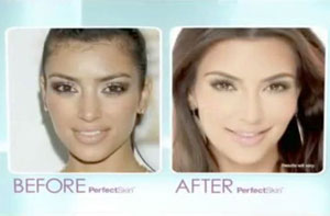 Kim Kardashian's Before and After Pefect Skin pictures