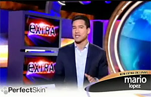 Mario Lopez in a fake Extra segment for the Pefect Skin infomercial