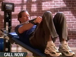 Steve Guttenberg exhibits his studly physique atop the TotalGym