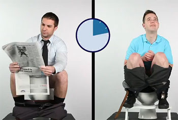 Sitting on a toilet versus squatting
