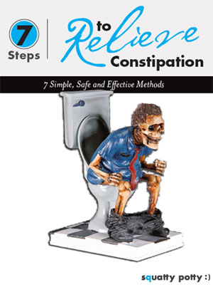 Skeleton takes a dump on the cover of an ebook from Squatty Potty