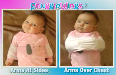 Two ways Snuggle Wings can restrain a baby